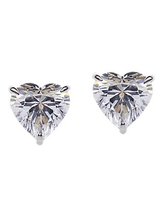 CARAT* London 9ct White Gold Heart Stud Earrings, Clear