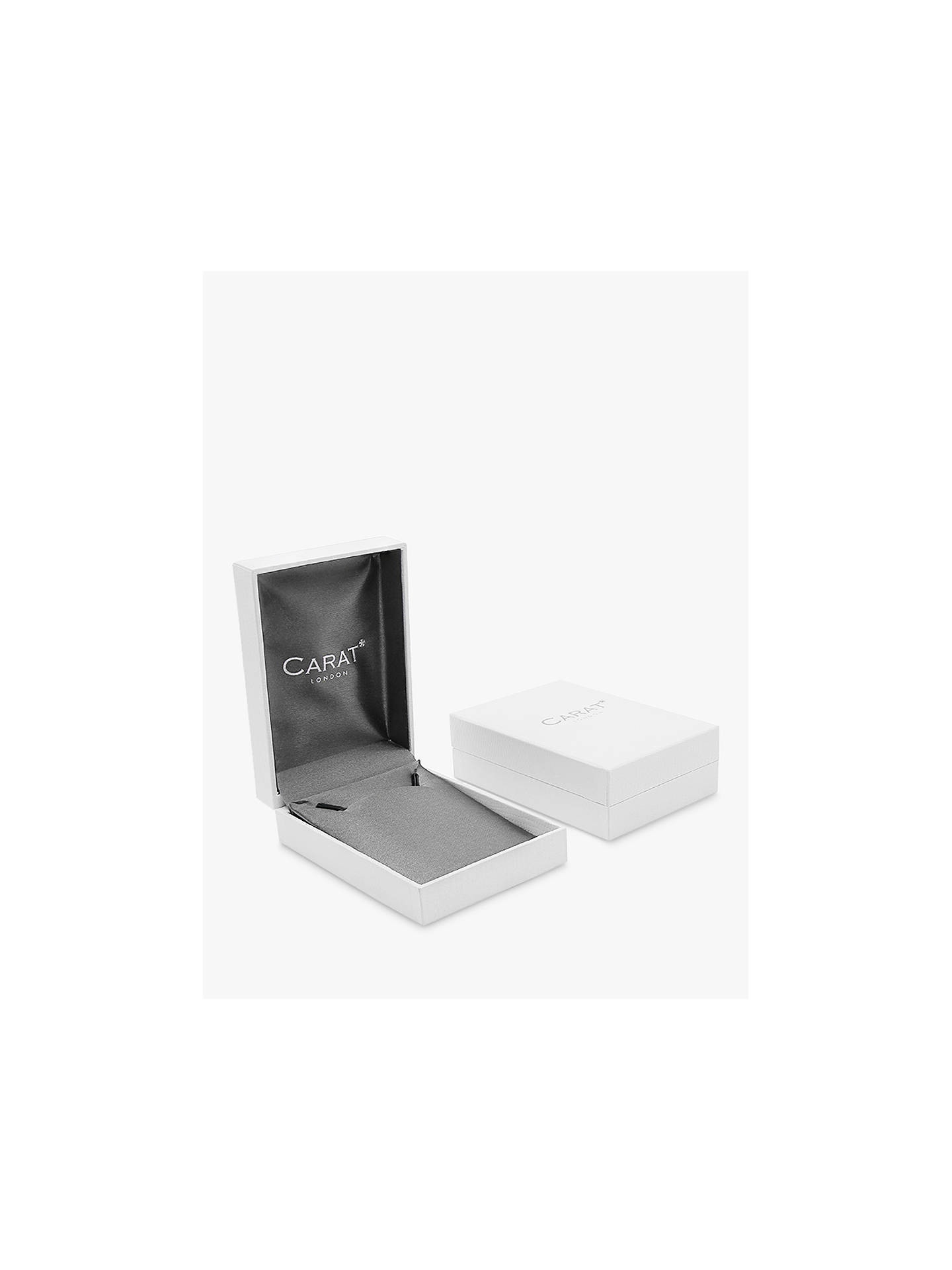 BuyCARAT* London 9ct White Gold Heart Stud Earrings, Clear Online at johnlewis.com