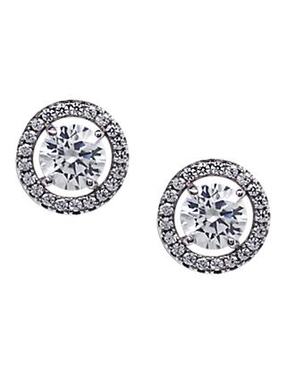 CARAT* London Sterling Silver Border Round Stud Earrings, Clear