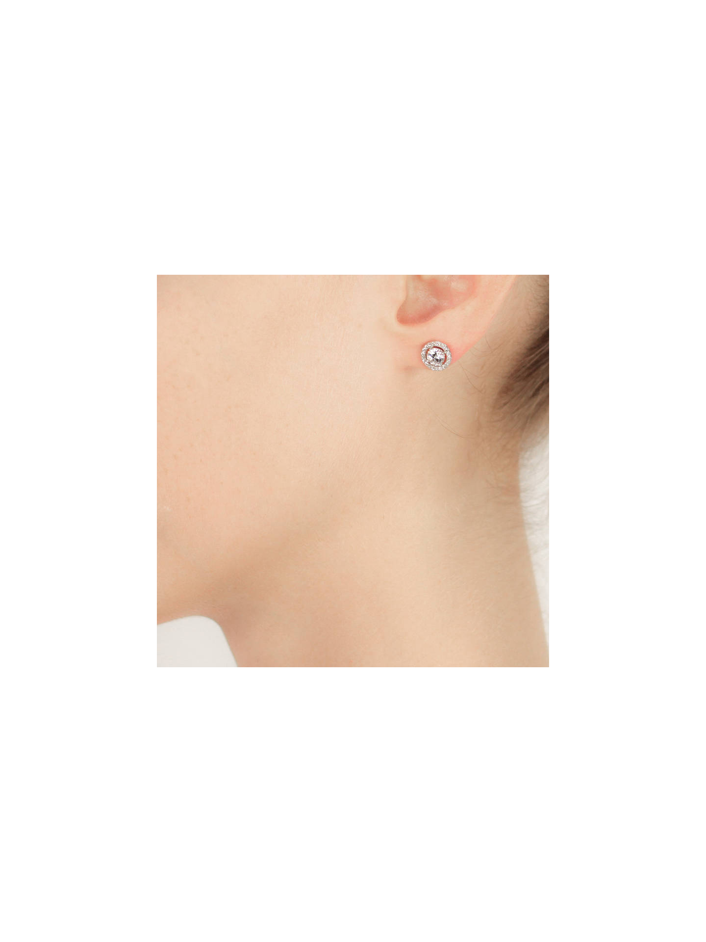 BuyCARAT* London Sterling Silver Border Round Stud Earrings, Clear Online at johnlewis.com