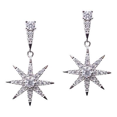 CARAT* London Sterling Silver Nysa Stella Drop Earrings, Silver