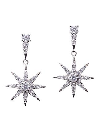 CARAT* London Sterling Silver Nysa Stella Drop Earrings, Silver