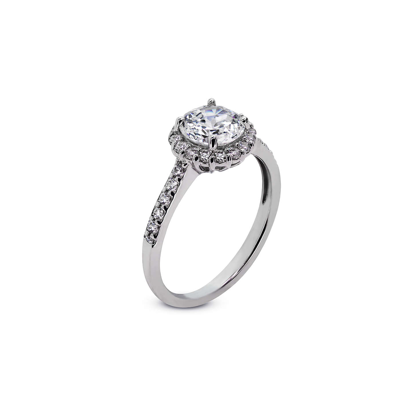 BuyCARAT* London Sterling Silver Round Engagement Ring, M, Silver Online at johnlewis.com