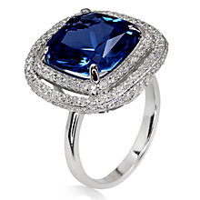 Buy CARAT* London Sterling Silver Cushion Cocktail Ring, Silver/Blue Online at johnlewis.com
