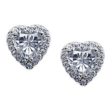 Buy CARAT* London Cora Sterling Silver Heart Stud Earrings, Clear Online at johnlewis.com