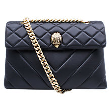 Buy Kurt Geiger Kensington Leather Across Body Bag, Black / Gold Online at johnlewis.com