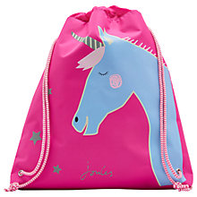 Buy Little Joule Children's Glow In The Dark Unicorn Drawstring Bag, Pink Online at johnlewis.com