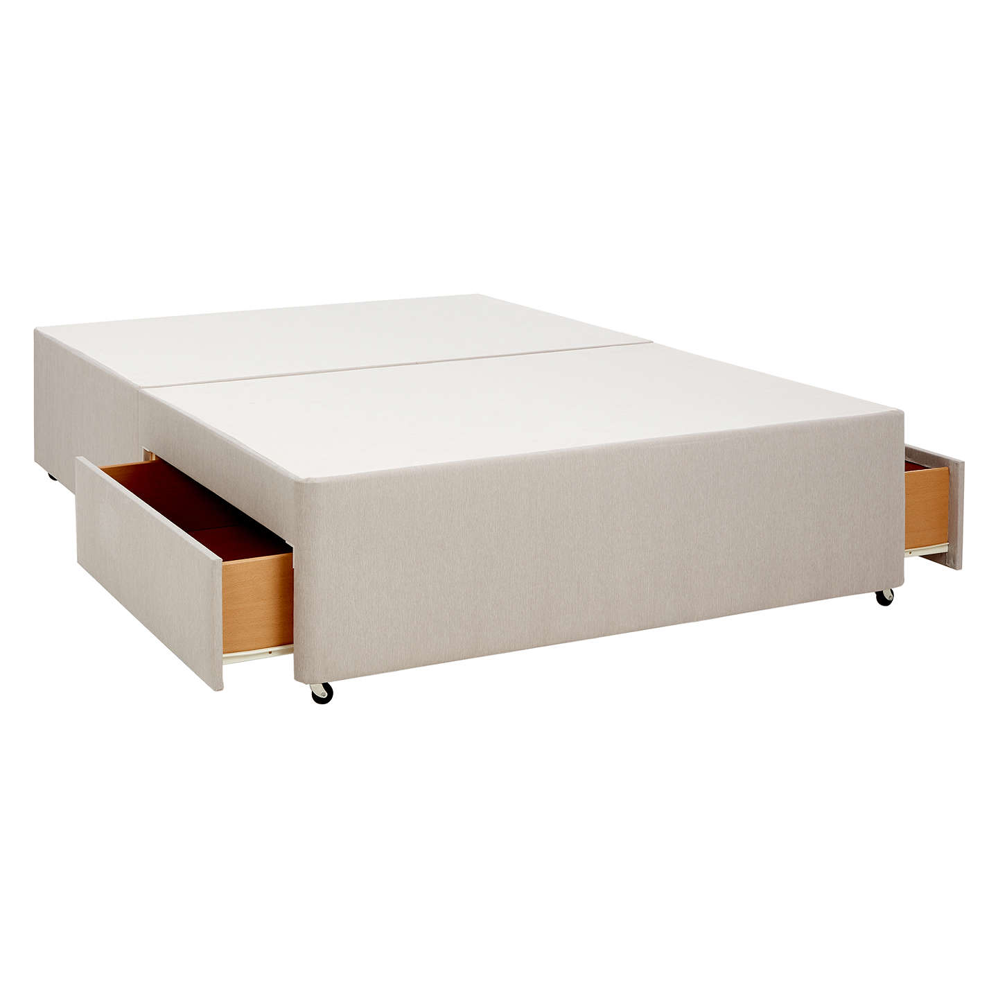 John lewis non sprung two drawer divan storage bed pebble for Small divan beds with storage