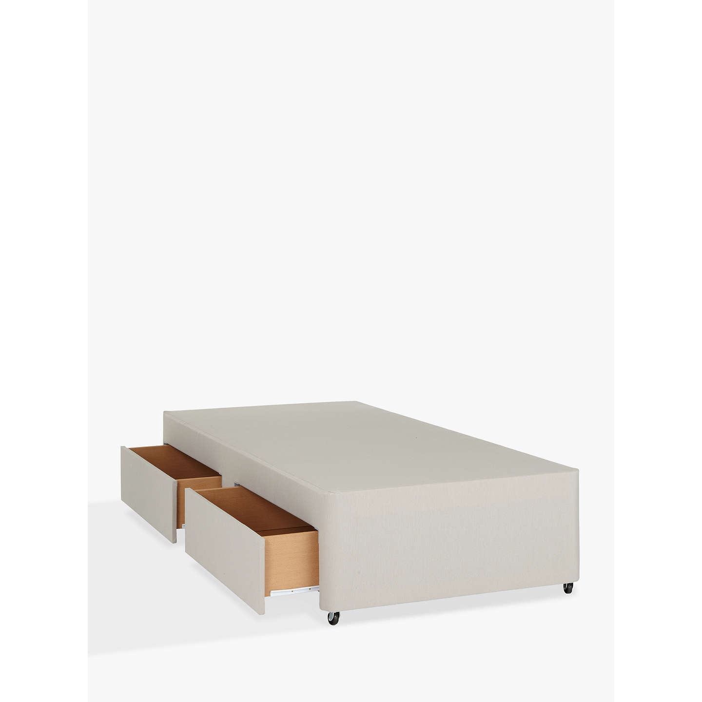 John lewis non sprung two drawer divan storage bed pebble for Double bed diwan