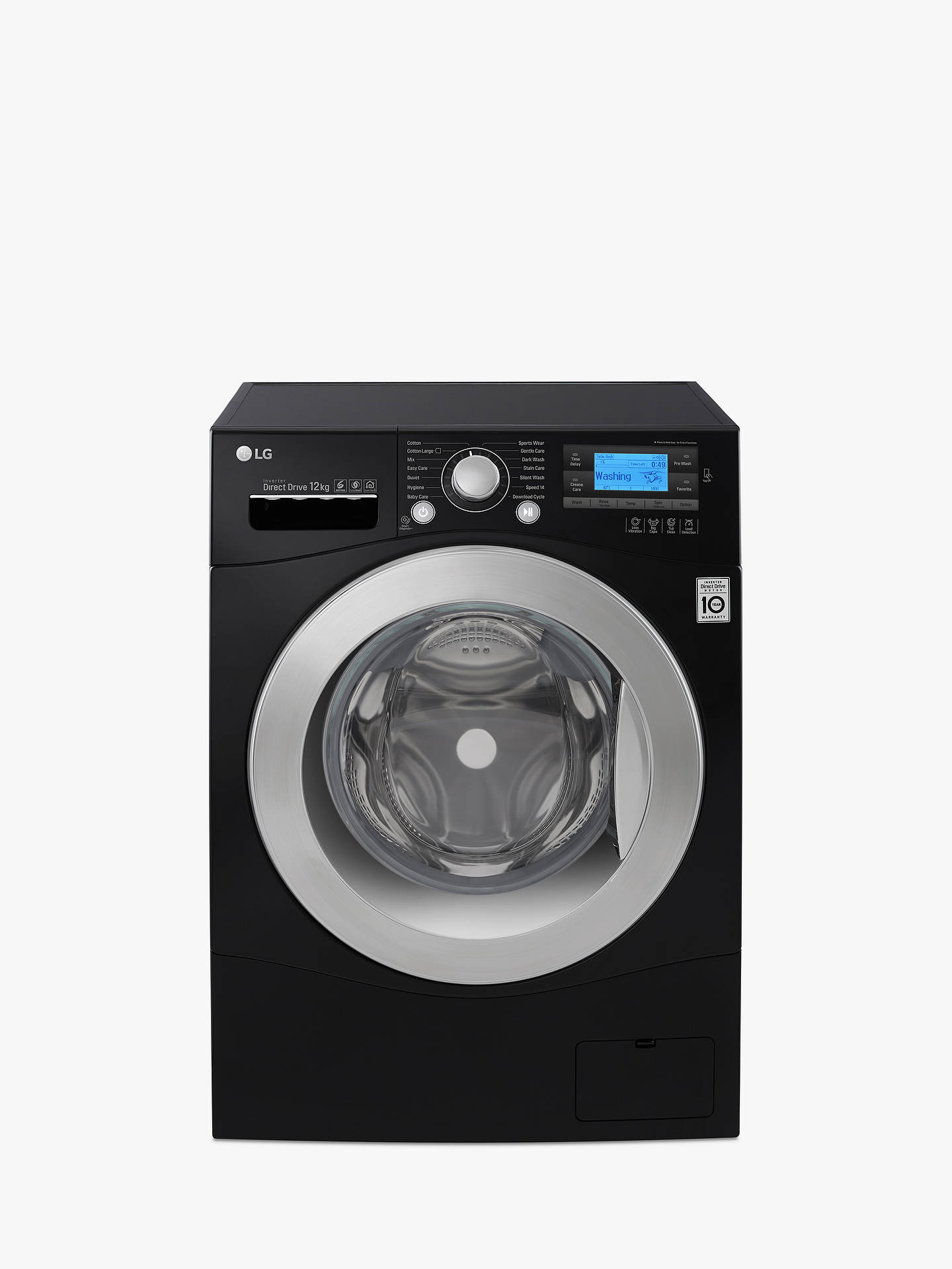 LG FH495BDN8 Freestanding Washing Machine, 12kg Load, A+++ Energy Rating,  1400rpm Spin, Black
