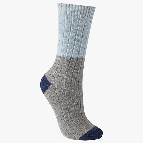 Buy John Lewis Wool Silk Mix Ribbed Colour Block Ankle Socks, Grey/Sky Blue Online at johnlewis.com