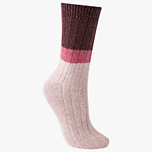 Buy John Lewis Wool and Silk Blend Ribbed Colour Block Ankle Socks, Burgundy/Candy Pink Online at johnlewis.com