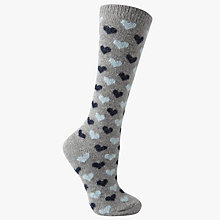 Buy John Lewis Wool Silk Mix Mini Heart Print Knee High Socks, Grey/Navy Online at johnlewis.com