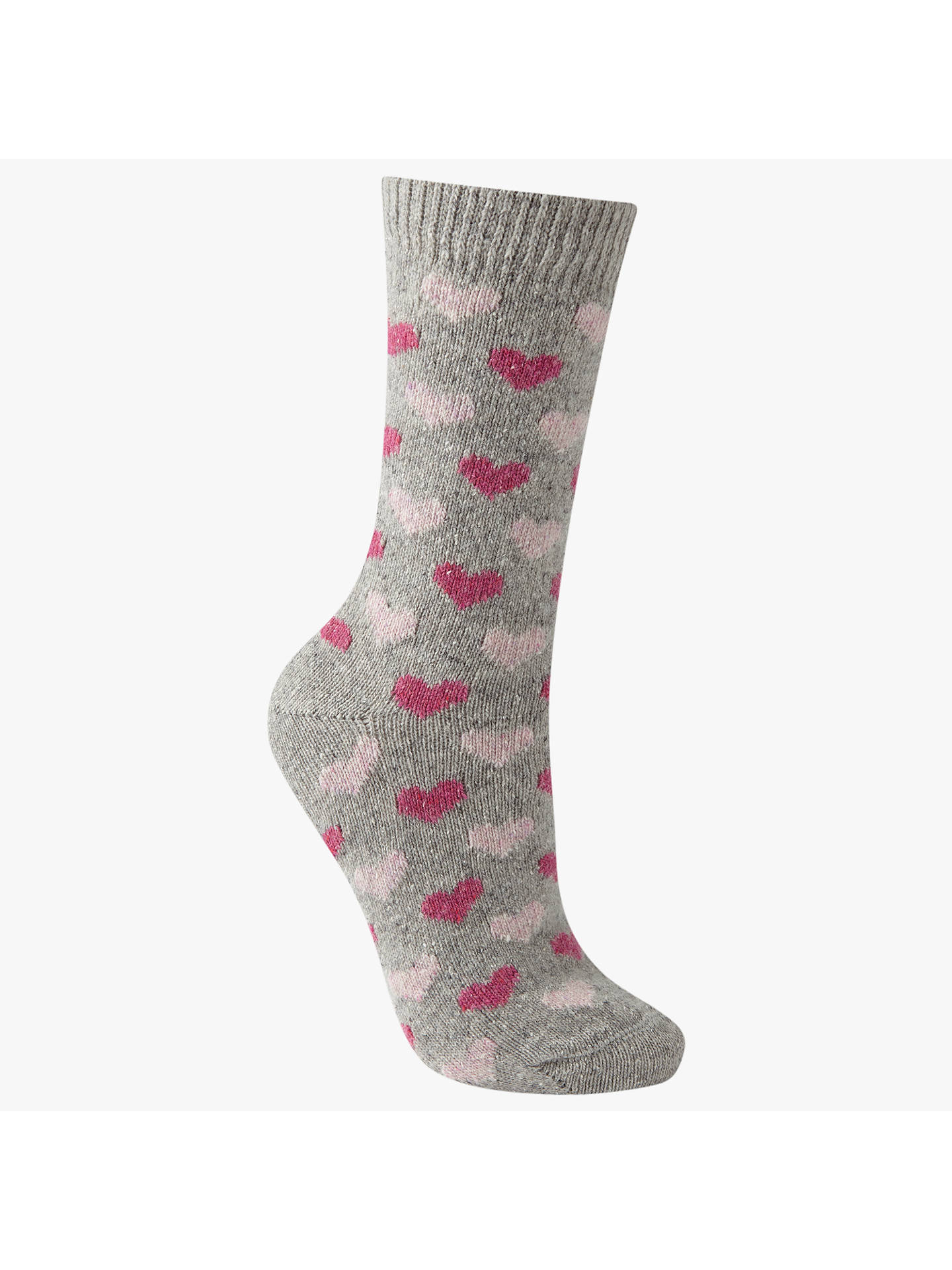 BuyJohn Lewis & Partners Wool Silk Mix Mini Heart Print Ankle Socks, Grey/Pink Online at johnlewis.com