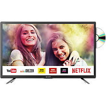 "Buy Sharp LC24DHG6131K LED HD Ready 720p Smart TV/DVD Combi, 24"" with Freeview HD & Miracast, Black Online at johnlewis.com"