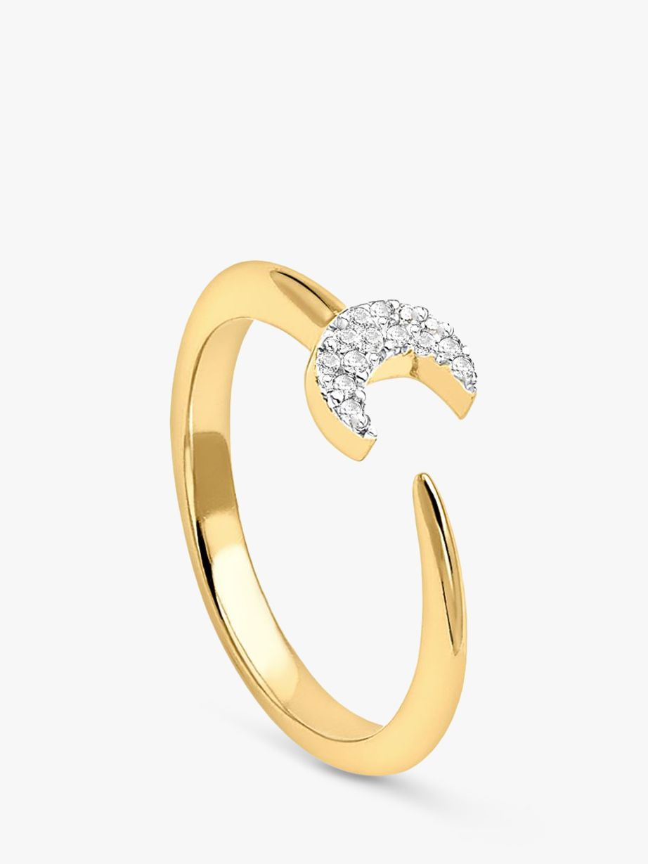Missoma Missoma 18ct Gold Vermeil Eclipse Pave Moon Ring, Gold