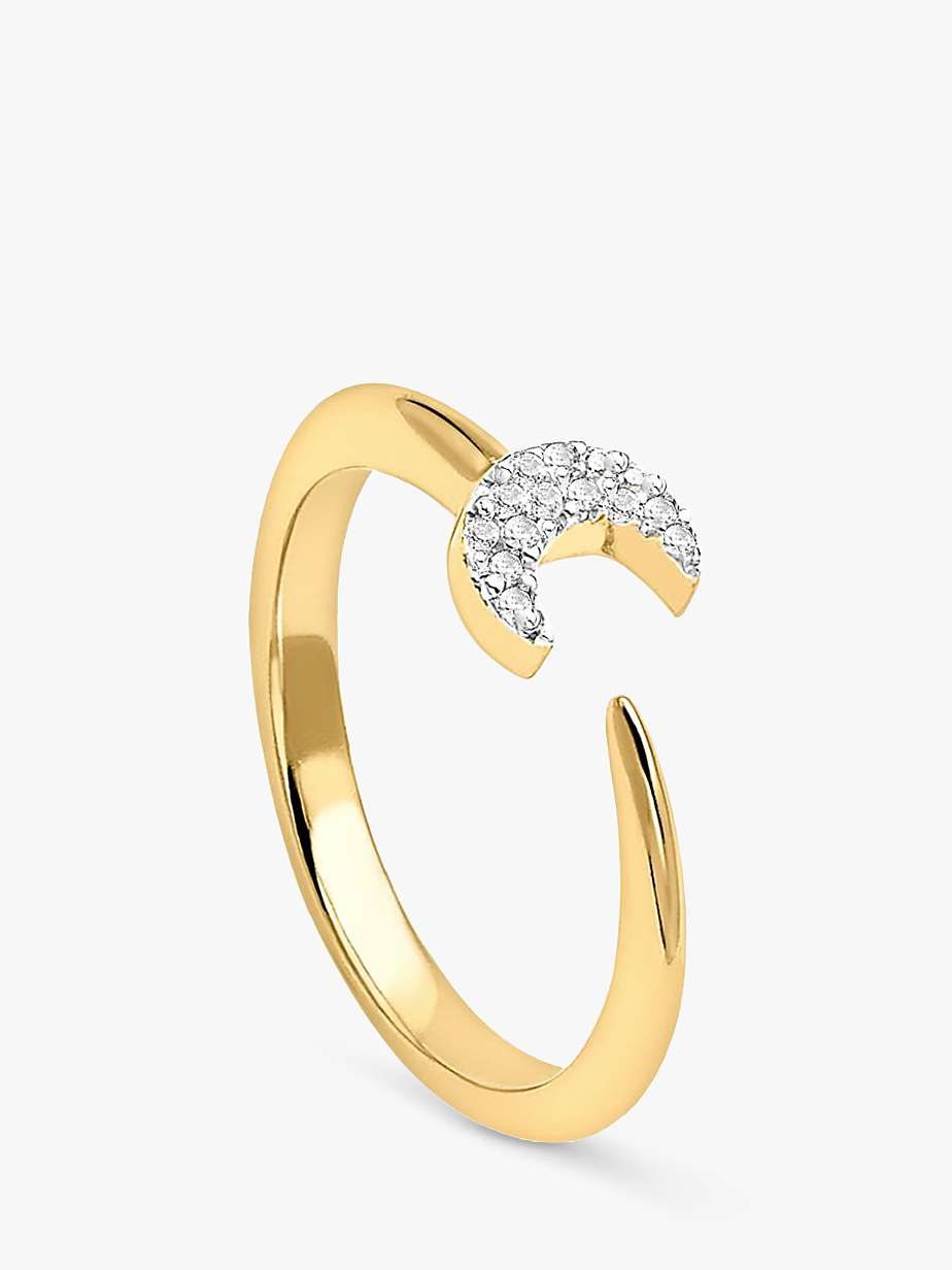 Missoma 18ct Gold Vermeil Eclipse Pave Moon Ring, Gold by John Lewis