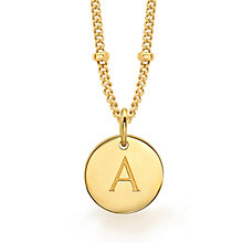 Buy Missoma 18ct Gold Vermeil Initial Pendant Necklace Online at johnlewis.com