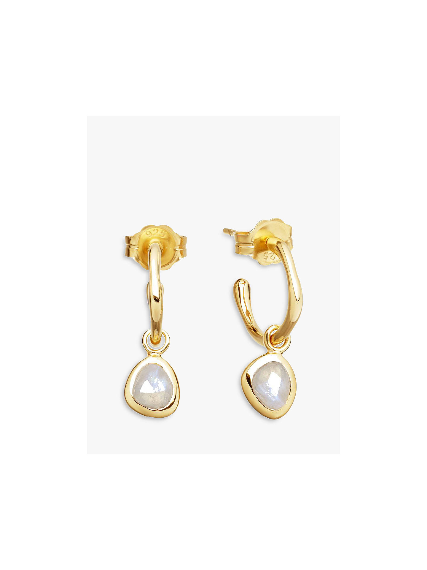 0fcac2a084ff3 Missoma 18ct Gold Vermeil Mini Molten Moonstone Charm Hoop Earrings, Gold