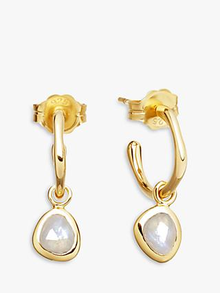Missoma 18ct Gold Vermeil Mini Molten Moonstone Charm Hoop Earrings, Gold