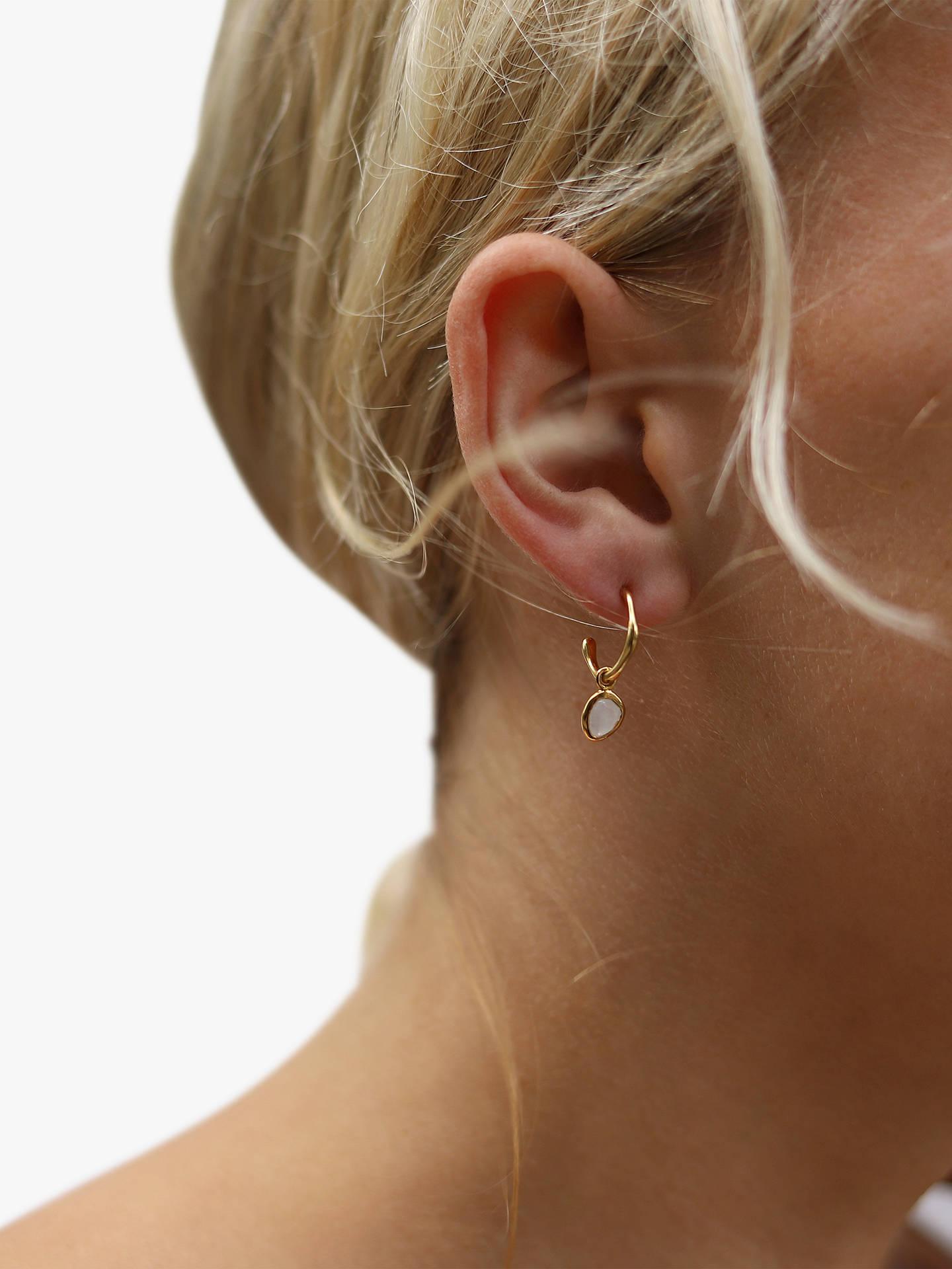 b82985809563f Missoma 18ct Gold Vermeil Mini Molten Moonstone Charm Hoop Earrings, Gold
