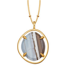 Buy Missoma 18ct Gold Vermeil Slice Pendant Necklace, Blue Grey Chalcedony Online at johnlewis.com