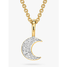 Buy Missoma 18ct Gold Vermeil Pave Moon Necklace, Gold Online at johnlewis.com