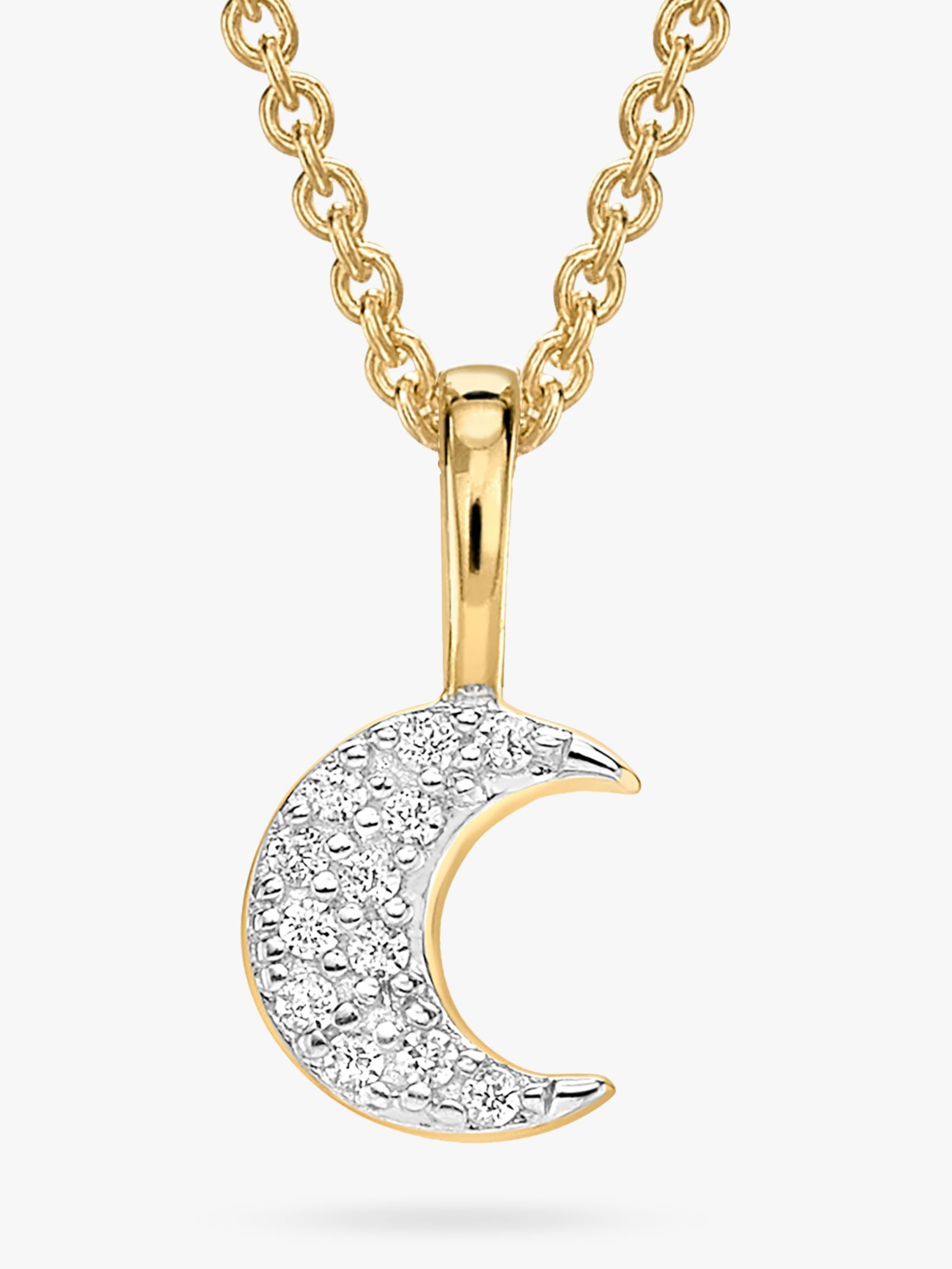 Missoma Missoma 18ct Gold Vermeil Pave Moon Necklace, Gold