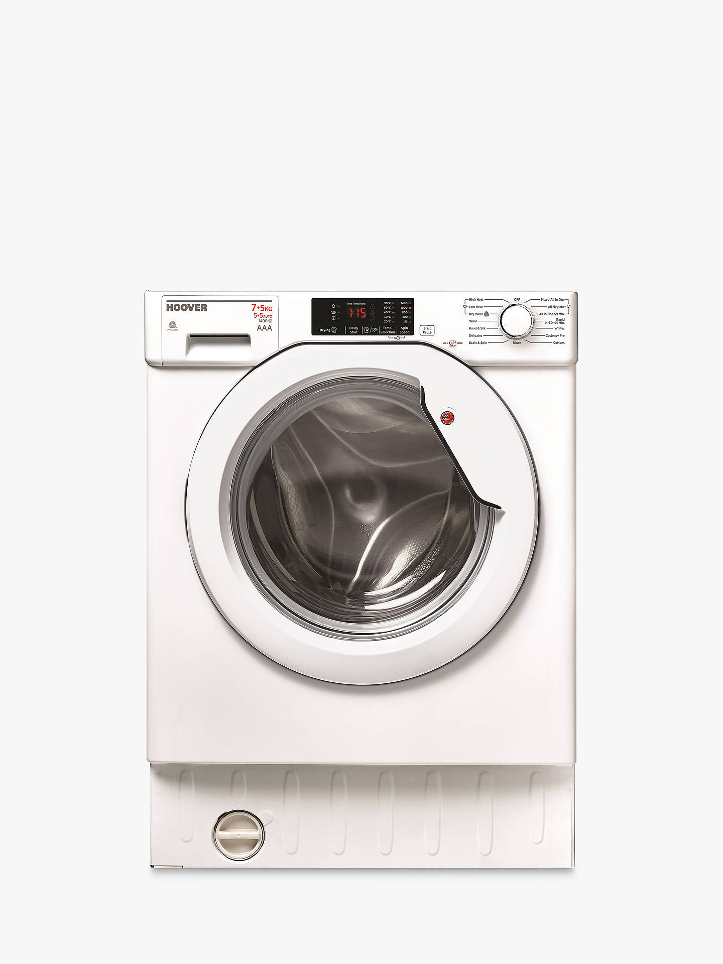 Hoover Hbwd7514da Integrated Washer Dryer 7kg Wash 5kg Dry Load A Rapid Electric Wiring Diagram For Stand Buyhoover Energy Rating