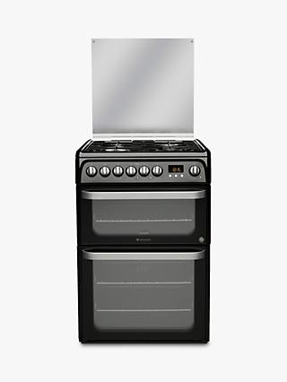 Hotpoint HUD61KS Dual Fuel Cooker, Black