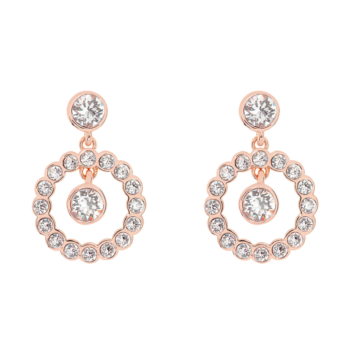 BuyTed Baker Corali Concentric Swarovski Crystal Drop Earrings, Rose Gold  Online At Johnlewis.com ...