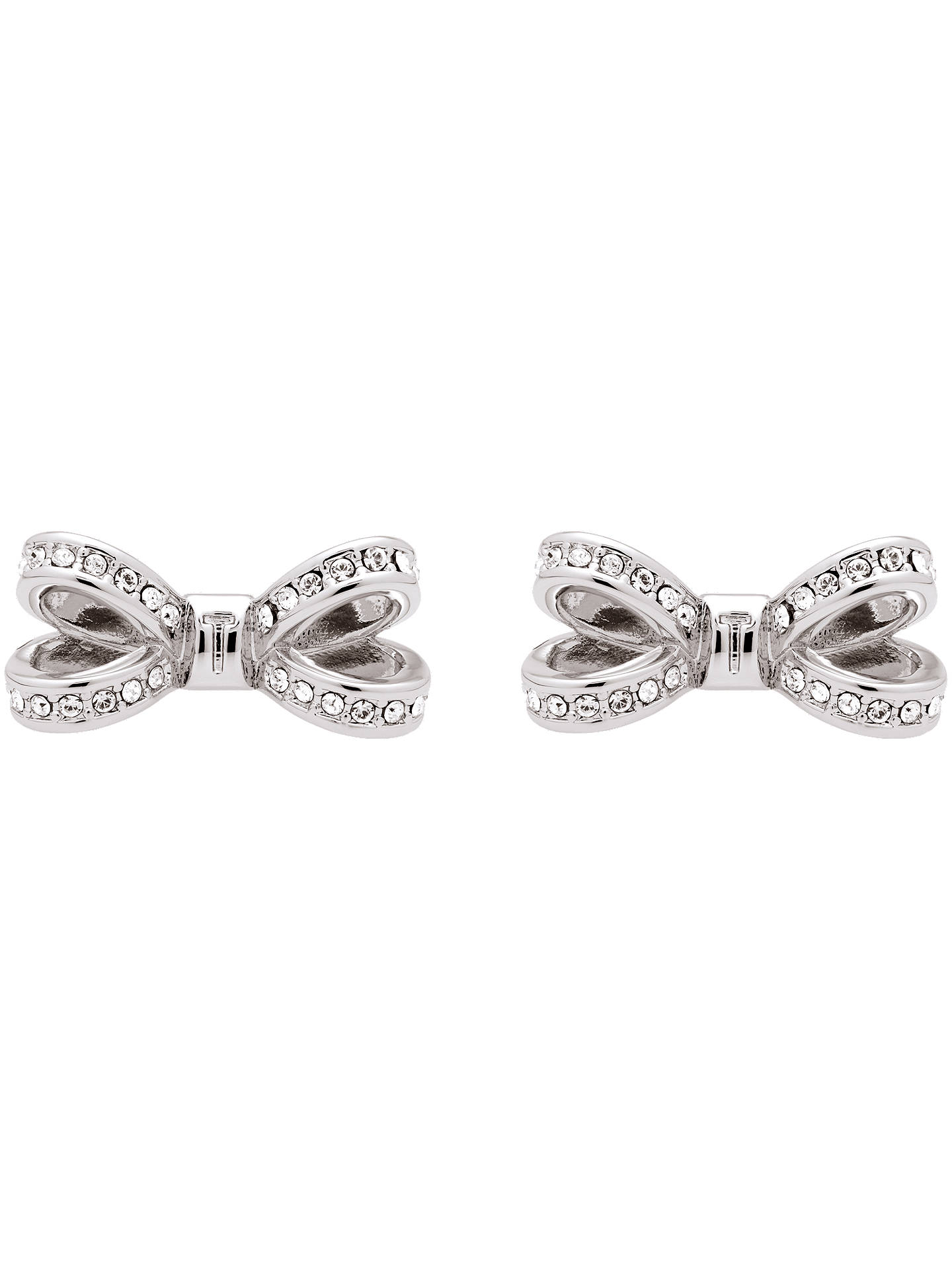 Ted Baker Olitta Mini Pave Swarovski Crystal Bow Stud Earrings Silver Online At Johnlewis