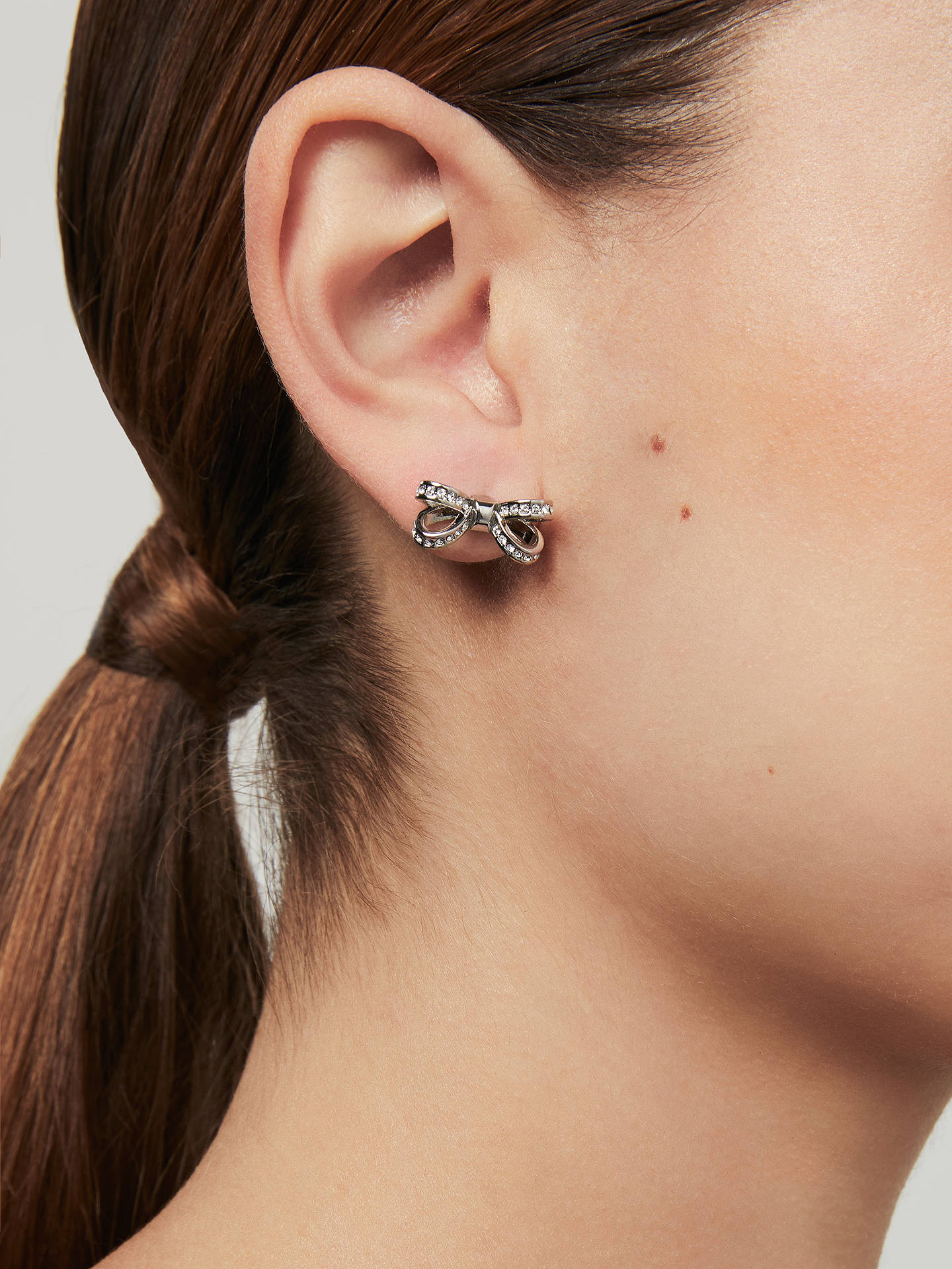 51e2a35e2 ... Buy Ted Baker Olitta Mini Pave Swarovski Crystal Bow Stud Earrings,  Silver Online at johnlewis ...