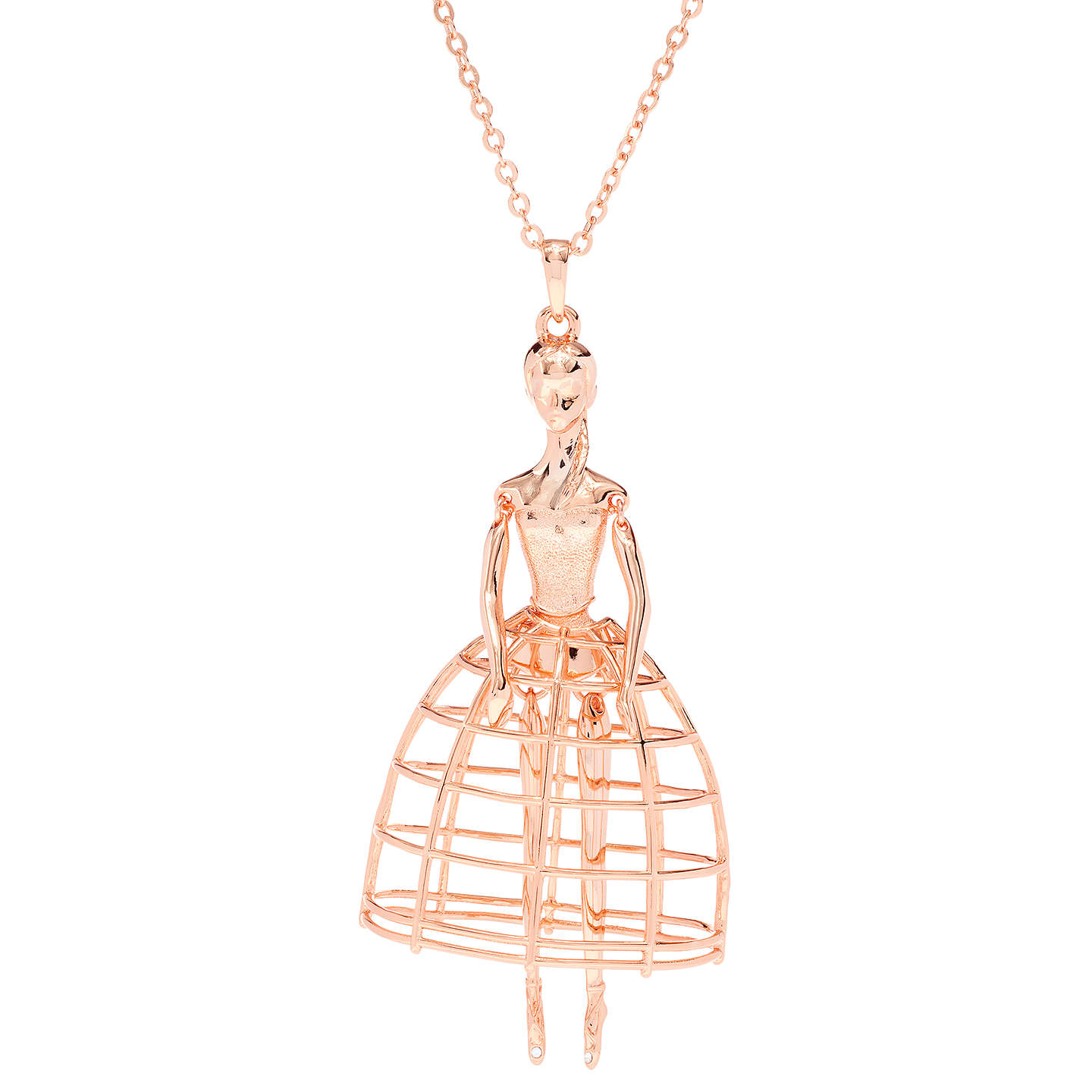 BuyTed Baker Peige Swarovski Crystal Ballerina Pendant Necklace, Rose Gold  Online At Johnlewis.com ...