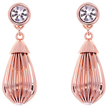 Buy Ted Baker Parisi Mini Plisse Swarovski Crystal Drop Earrings, Rose Gold Online at johnlewis.com