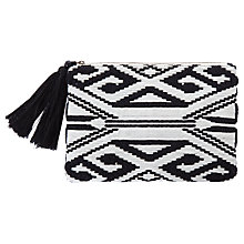 Buy Mint Velvet Geometric Weave Summer Clutch Bag, Black Online at johnlewis.com
