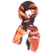 Buy Chesca Abstract Floral Printed Crinkle Chiffon Scarf, Black/Red Online at johnlewis.com