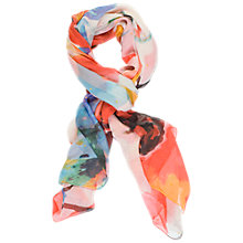 Buy Chesca Abstract Floral Printed Scarf, Orange/White Online at johnlewis.com