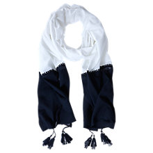 Buy Mint Velvet Block Tassel Scarf, Ivory/Ink Online at johnlewis.com