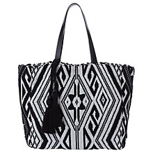Buy Mint Velvet Geometric Weave Summer Tote Bag, Black Online at johnlewis.com