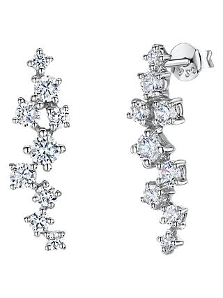 Jools by Jenny Brown Cubic Zirconia Meandered Drop Earrings, Silver