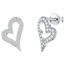 Buy Jools by Jenny Brown Asymmetric Heart Cubic Zirconia Stud Earrings, Silver Online at johnlewis.com