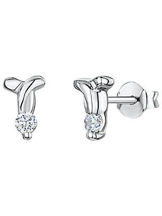 Jools by Jenny Brown Cubic Zirconia T Stud Earrings, Silver