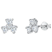 Buy Jools by Jenny Brown Cubic Zirconia Clover Stud Earrings, Silver Online at johnlewis.com