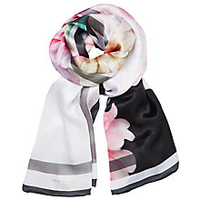 Buy Ted Baker Painted Posie Silk Long Scarf, Baby Pink/Multi Online at johnlewis.com