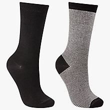 Buy John Lewis Stripe Ankle Socks, Pack of 2, Black Online at johnlewis.com