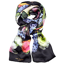 Buy Ted Baker Kensington Floral Long Silk Scarf, Black/Multi Online at johnlewis.com