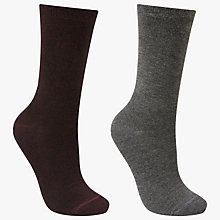 Buy John Lewis Solid Colour Ankle Socks, Pack of 2, Burgundy/Grey Online at johnlewis.com