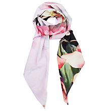 Buy Ted Baker Painted Posie Floral Skinny Scarf, Baby Pink/Multi Online at johnlewis.com