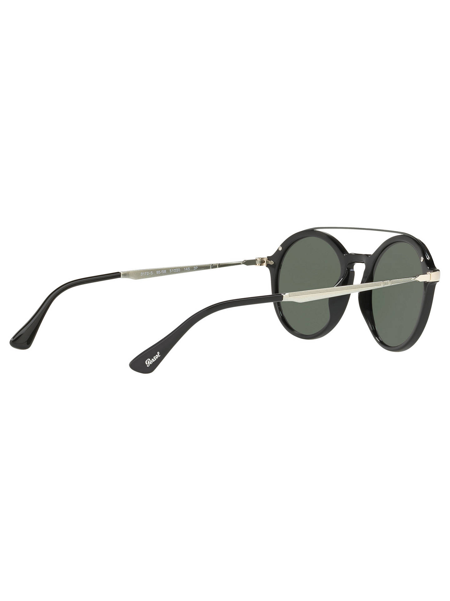 BuyPersol PO3172S Polarised Round Sunglasses, Silver/Grey Online at johnlewis.com